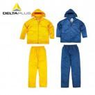 代尔塔 407003 PVC内涂层防护服 涤纶透气劳保分体雨衣套装 EN400