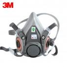 3M6200配双滤盒防毒半面罩头戴式配滤盒滤棉使用防护面具